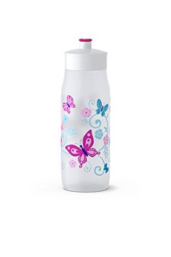 Emsa Squeeze Bottle 518093; 0,6L Butterflies, PE, weiß, 6.5 x 6.5 x 21.9 cm