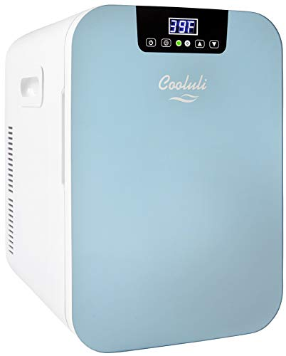 Cooluli Concord Blue 20 Liter Compact Cooler Warmer Mini Fridge for Bedroom, Office, Car, Dorm - Portable Makeup Skincare Fridge with Digital Temperature Control