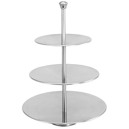com-four® Etagere aus Edelstahl - Kuchen-Etagere mit 3 Ebenen - Servier-Ständer für Gebäck, Pralinen oder Obst (01 Stück Edelstahl - Höhe 36.5 cm)