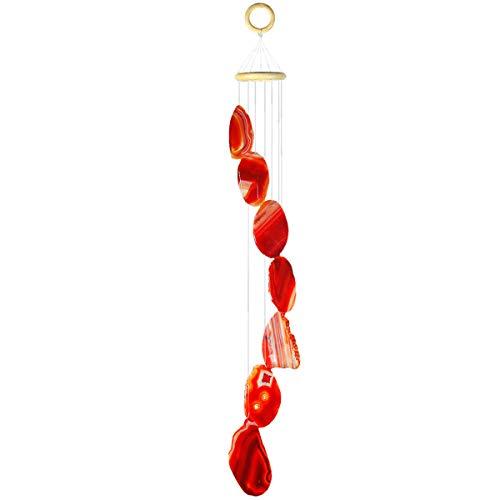 KYEYGWO Carillon à Vent en Forme d'agate en Forme de géométrie pour décoration d'intérieur ou d'extérieur 27-33 inch-Red Agate Slice