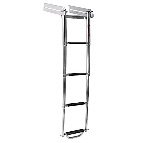 Amarine Made 4 Step Ladder Under Platform Sliding Ladder Stainless Steel 316 Spring Loaded Latch with a Carry Handle and Pop-N-Lock (4 Step Swim Platform Underside Ladder)