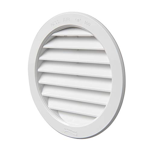 La Ventilazione T12B - Rejilla de ventilación redonda de plástico para empotrar, color blanco, diámetro interior/exterior 120/150 mm