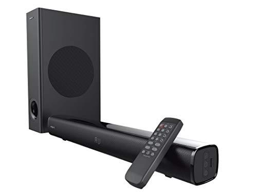 Creative Stage 2.1 Barre de son avec caisson de basses pour TV, ordinateur et écrans ultra larges, Bluetooth / Entrée optique / TV ARC / Entrée AUX, télécommande et kit de montage mural