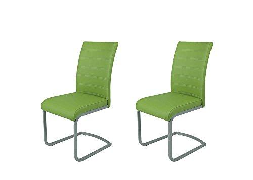 lifestyle4living Schwingstühle, 2 Stück mit Metallgestell und grünem Kunstleder-Bezug, Maße: B/H/T ca. 44/95/50 cm