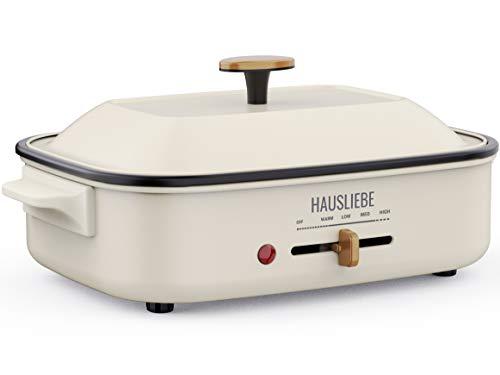 HausLIEBE - Padella elettrica multifunzione da tavolo, con coperchio in metallo e temperatura regolabile, 1200 W, piastra grill, pentola a vapore, padella per pancake e pentola profonda