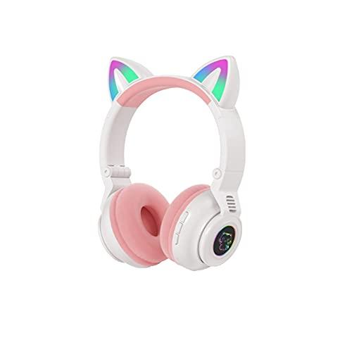 Auriculares para videojuegos con orejas de gato desmontables, USB, recargables, inalámbricos, Bluetooth, con soporte para tarjeta TF, color blanco