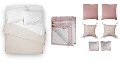 tapidecor Pack Textil Cama: Funda NORDICA Colcha + Funda Almohadas + Sabana Bajera + Cojines Decorativos + Plaid Manta PIE Cama. Liberty - 135-150 cm. (240 x 230 cm.), Nude