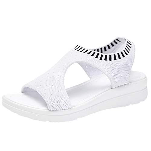 Sandalias Mujer Verano 2019,Las Mujeres de Punta Abierta Transpirable Comodidad Ahuecan hacia Fuera cuñas Casuales Zapatos de Malla Sandalias