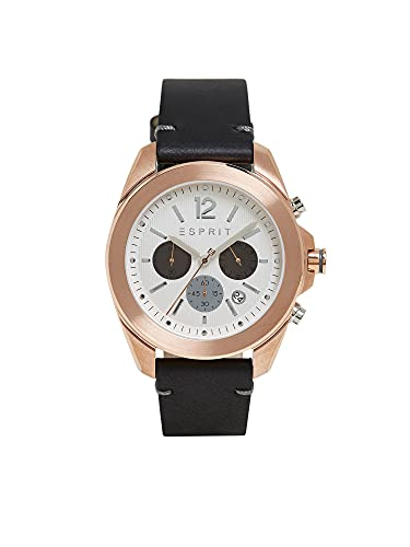 Esprit Reloj de acero inoxidable con correa de piel.