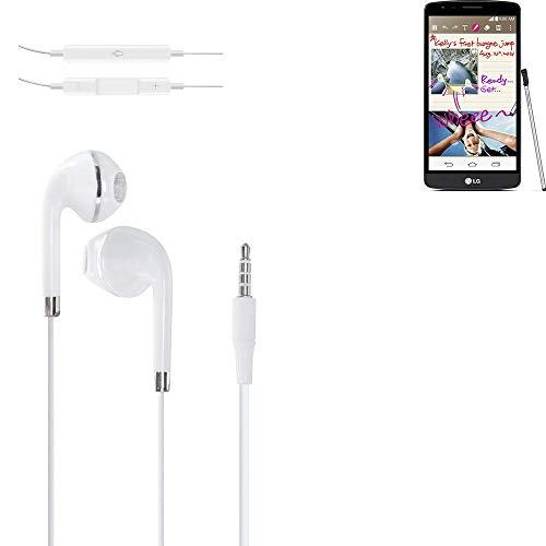 K-S-Trade® Auriculares Headphone P. LG G3 Stylus con Micrófono Y Control De Volumen Blanco Jack De 3.5 Mm Tapones para Los Oídos Headset Espárragos Headphone Estéreo