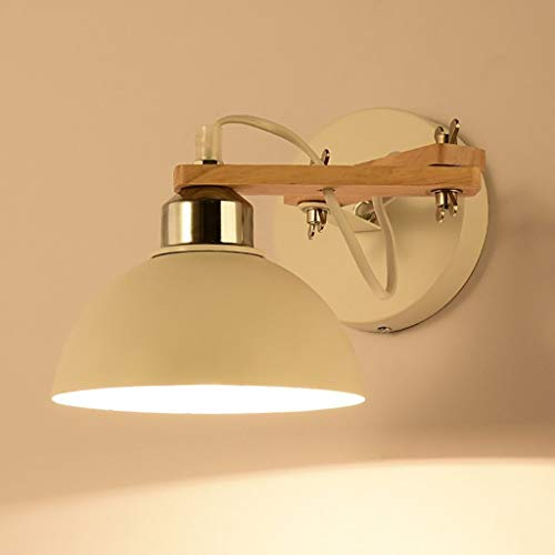 MGWA Lámpara de pared de madera nórdica, moderna, minimalista, creativa, japonesa, para dormitorio, mesita de noche, lámpara de pared, lámpara LED blanca de 3 W (luz cálida)