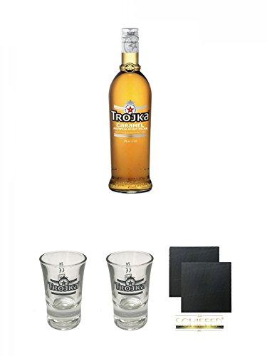 Trojka Caramel Likör mit Wodka CARAMEL 0,7 + Trojka Shotglas 1 Stück + Trojka Shotglas 1 Stück + Schiefer Glasuntersetzer eckig ca. 9,5 cm Ø 2 Stück