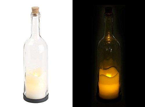 Lunartec decoratieve glazen fles kaars en beweegbare vlam, (LED-fleslicht met timer), kleurrijk