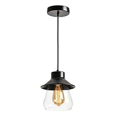 Berliget Black Farmhouse Mini Glass Hanging Pendant Lighting, Small Kitchen Island Clear Industrial Pendant Light Fixtures for Kitchen, Bar, Dining Room, Living Room, Bedroom