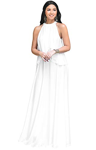 KOH KOH Womens Long Sleeveless Halter Neck Flowy Bridesmaid Bridal Cocktail Spring Summer Beach Wedding Party Guest Floor-Length Gown Gowns Maxi Dress Dresses, Ivory White M 8-10
