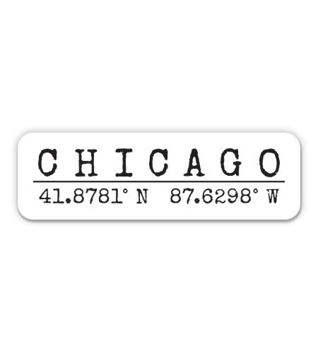 Squiddy Chicago Illinois - City Coordinates - Vinyl Sticker Decal for Phone, Laptop, Water Bottle (3