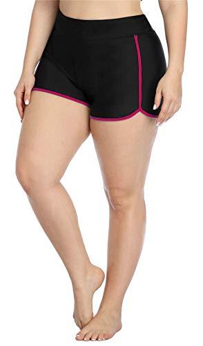 ALove Plus Size Women Swimsuits Bikini Tankini Bottom Workout Swim Shorts Swimwear Bottoms 2X Fuchsia