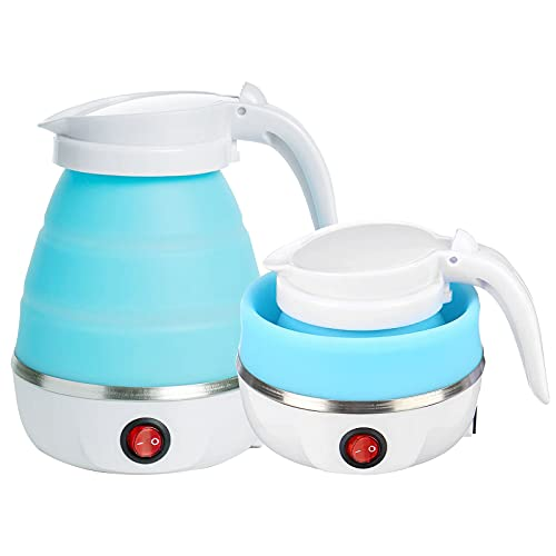 Portable Folding Electric Kettle Fast Boiling Foldable Electric Kettle for Travel Food Grade Silicone Boil Dry Protection Electric Kettle with Separable Power Cord for Hiking Camping and Indoor (Blue)