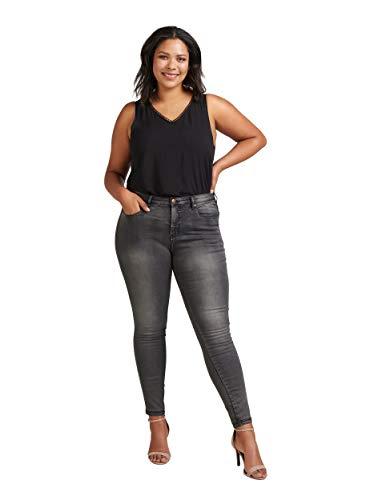 Zizzi Amy Damen Jeans Super Slim Jeanshose Stretch Hose Große Größen 42-56, Grau, 52 / 78 cm