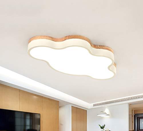 Lámpara Nórdica De Madera Del Techo De La Sala De Estar Del Dormitorio Del Niño LED De La Forma Elegante De La Nube Del Arte (65 * 35 * 6CM-Luz Blanca-Blanco)