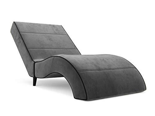 Nowak MebLiebe Chaiselongue Venus Recamiere Longchair für Wohnzimmer Erholung Liegestuhl 165x88x65 cm Grau