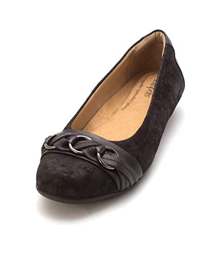 Comfortiva Posie - Soft Spots Black Distressed Foil Suede Women's Slip on Shoes