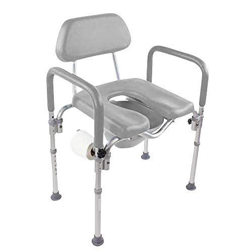 Dignity Ultra-Premium Padded Commode/Shower Chair. Voted #1 Most Comfortable with Padded arms/backrest. Adjustable Height. Includes Free Commode Pail and Lid (Gray)