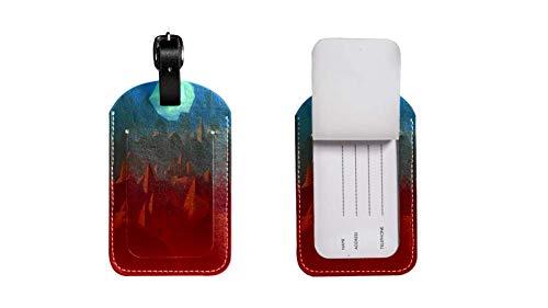 Etichette in pelle per bagagli da visita per biglietti da visita, etichette per valigie, poligono Art2, 20,3 x 11,4 cm