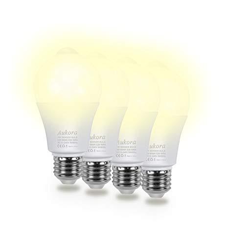Aukora Motion Sensor Light Bulbs 4-Pack, 12W (100-Watt Equivalent) E26 Motion Activated Dusk to Dawn Security Light Bulb Outdoor/Indoor for Front Door Porch Garage Basement Hallway Closet(Warm White)