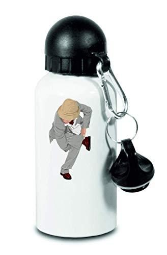 Drucklebnis24 – Botella de agua – bailarina pausa bailar hip – para niños, escuela, deporte, fitness – fina botella de agua de aluminio, color Blanco, tamaño 500 ml
