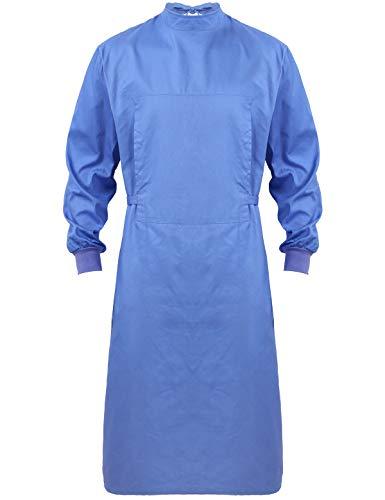 iEFiEL Unisex Damen Herren Baumwolle Kasack Langarm Chirurgische Kleider Waschbare Medizinische Berufsbekleidung Krankenschwester Uniform Blau Large