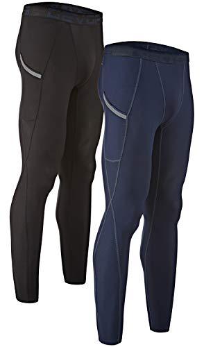 DEVOPS Men's 2 Pack Compression Cool Dry Tights Baselayer Running Active Leggings Pocket Pants (Medium, Black/Navy)