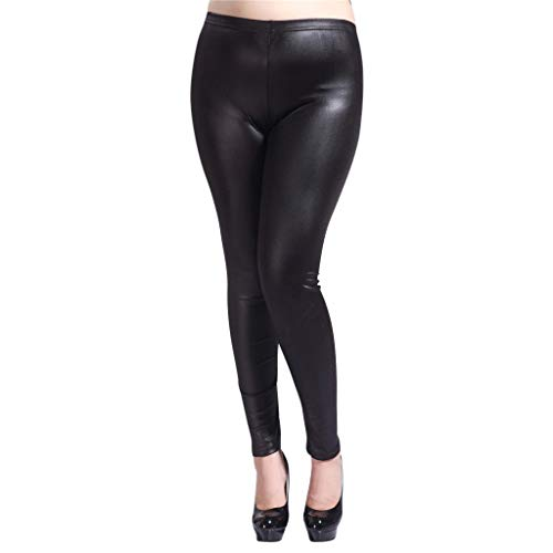 Kaiki Damen Übergröße Lederhose Sexy Hüfthosen Skinny Slim Fit Lang Hosen Beingins Smooth Strumpfhosen Leder Beingins Hose (3XL, Schwarz)