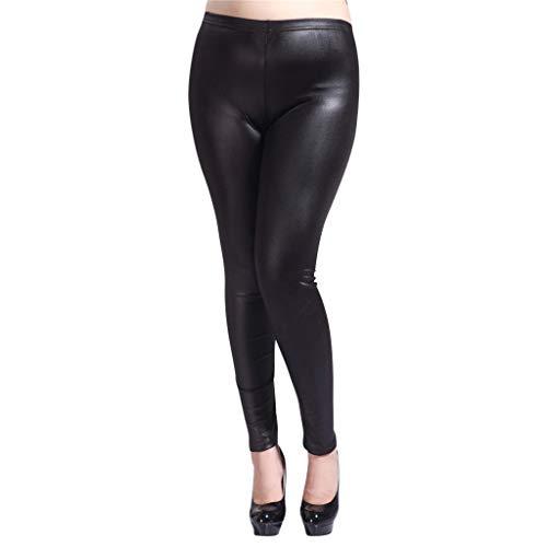 Xmiral Leggings Damen Einfarbig Kunstleder Röhrenhose Große Größe Elastische Taille Hosen Dicke Beine Hohe Elastizität Jogginghose(Schwarz,M)