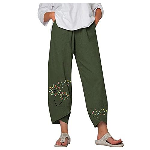 VESNIBA Pantaloni lunghi da donna, stile harem, casual, in lino, elasticizzati, per il tempo libero, lunghezza 7/8, tinta unita, leggeri verde XXL