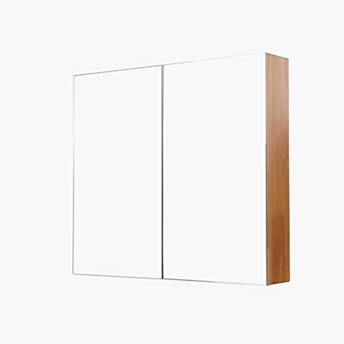 Armoires avec miroir Armoire de Toilette en Bois Massif Armoire Murale Multicouche Support Mural Miroir de Toilette Armoire à Pharmacie Miroirs de Salle de Bain (Color : Wood, Size : 80 * 14 * 70cm)