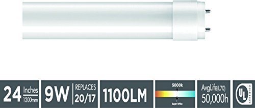 """Goodlite G-83408 9W 24"""" T12 & T8 Fluorescent Replacement. Universal Direct OR Bypass T8 LED Light Bulb. One side power or  two side power, Super White 5000k,"""