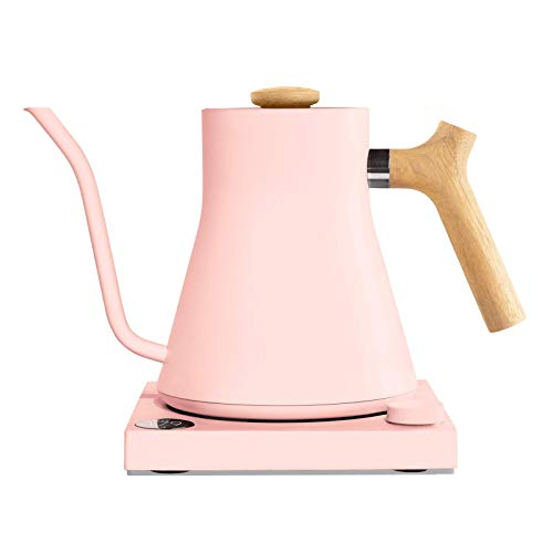 Image of the Fellow Stagg EKG, Electric Pour-over Kettle For Coffee And Tea, Warm Pink with Maple Wood Handle + Lid Pull, Variable Temperature Control, 1200 Watt Quick Heating, Built-in Brew Stopwatch