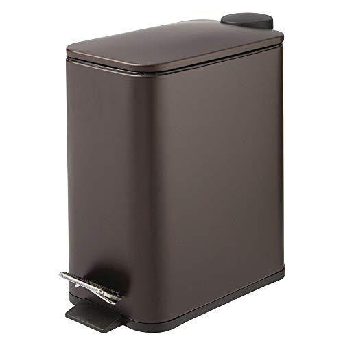 mDesign Papelera de baño Rectangular – Cubo metálico de 5 litros con Pedal, tapadera y Cubo Interior de plástico – Elegante contenedor de residuos para baño, Cocina y Oficina – Color Bronce