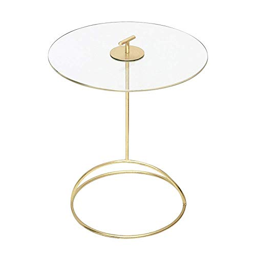 Carl Artbay Home & Selected Bijzettafeltje in evenwichtig glas, kleine ronde tafel, sofa, bijzettafel, balkon, salontafel, slaapkamer, nachtkastje, goud, 16,5 inch, 21,2 inch