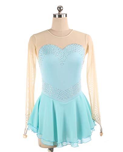 DIELIAN Leuchtenden Eislaufen Kleid Performance Eislauf-Kostüm mit Fingertips Lange Ärmel hohe Elastizität,Light Blue,120cm