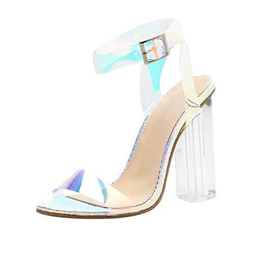 VJGOAL Sandalias para Mujer Moda Sexy Punta Abierta Tobillo Hebilla Correa Transparente talón Cuadrado Super Zapatos de tacón Alto(39 EU,Caqui)