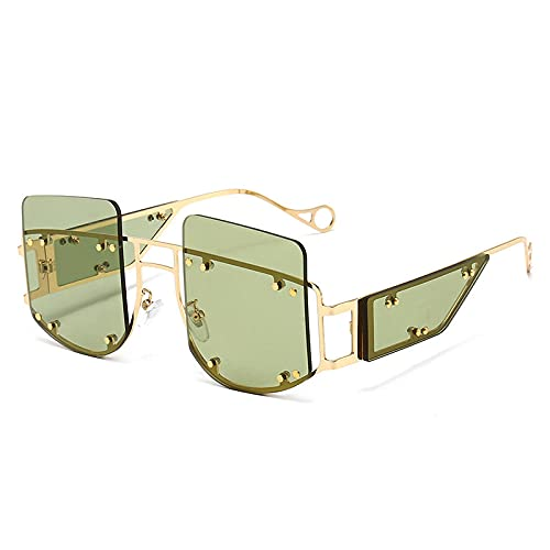 Sunglasses - Gafas de sol cuadradas para hombre, a la moda, espejo mediano, color verde