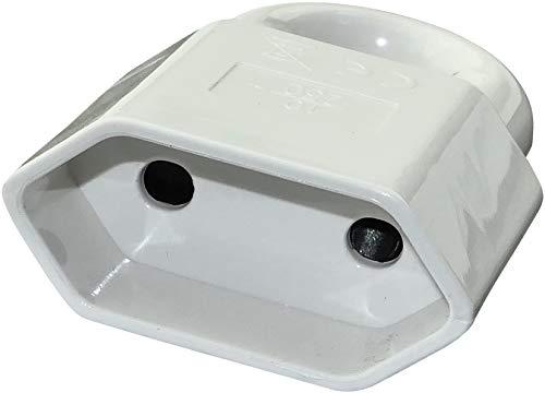 AERZETIX - Enchufe/Toma de Corriente Eléctrica Plana 10A - Toma Hembra Roscada - Con anillo de extracción - 2 polos - Conexión/Adaptador/Eléctrico - Extraplano - Color Blanco - C45902