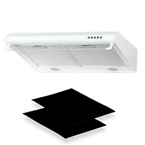 Dunstabzugshaube + Aktivkohlefilter Abzugshaube Dunst Unterbauhaube - Abluft/Umluft - 60 cm breit - Farbe: Weiß - Edelstahlgehäuse - LED-Beleuchtung [Energieklasse C]