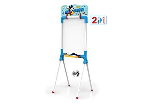 Chicos - Mickey Mouse Pizarra Junior, Reversible 2 En 1 para Rotuladores y Tizas, Incluye Rotulador, Tizas, Un Borrador y Una Plantilla de Mickey, a partir de 3 años, Azul, 37 X 32.5 X 98 cm