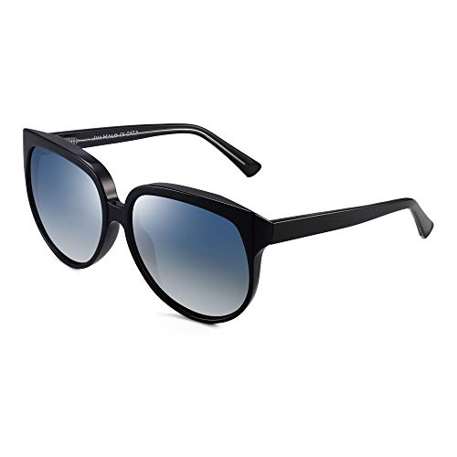 JIM HALO Oversized Polarizadas Gafas de Sol Para Mujer Diseñador Gradiente Sombras UV400(Marco Negro/Lente Azul Polarizado)