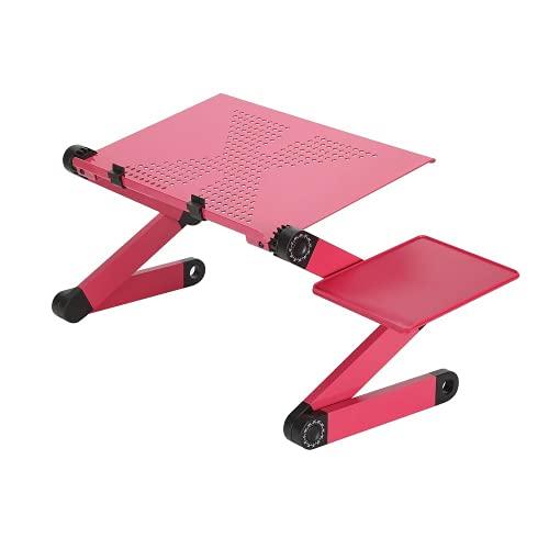 Verstellbarer Laptop-Schreibtisch-Ständer aus Aluminium für Laptop, Computertisch, ergonomisch, tragbar, belüftet, TV-Bett, Laptop-Ständer mit Mauspad (Pink)