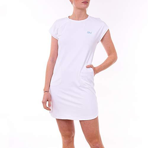 Sportkind Robe de tennis, hockey, coupe ample et respirante, protection UV UPF 50+. - Blanc - XXL