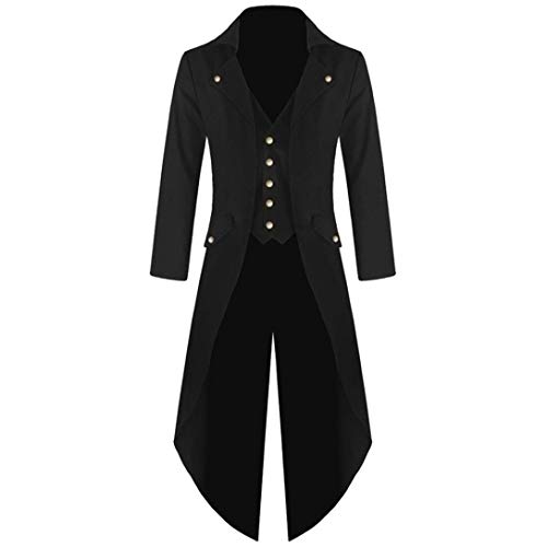 MRULIC Halloween Mäntel Herren Kapuze Jacke Gothic Gehrock Uniform Kostüm Party Oberbekleidung (EU-50/CN-2XL, Schwarz)